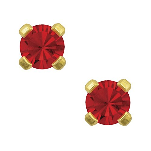 Motif Earrings Ruby (Studex Tiny Tips 3mm July / Ruby CZ Birthstone Gold Plated Childrens Hypo-allergenic Stud Earrings)
