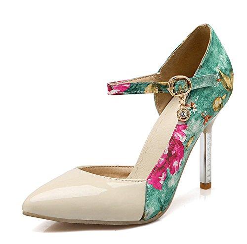 Aisun Damen Sexy Spitz Zehen Blumen Muster D-Orsay Stiletto Pumps mit Schnalle