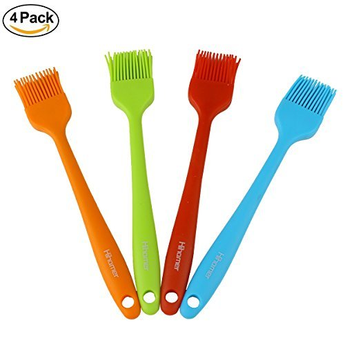 Hihamer Set of 4 Silicone Basting Pastry & BBQ Brushes - 8.2 Inch Long - Red, Blue, Orange, Green