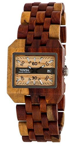 Tense Discovery Comox Rectangular Inlaid Sandalwood Wooden Watch B5100I LWGF - Discovery Watch