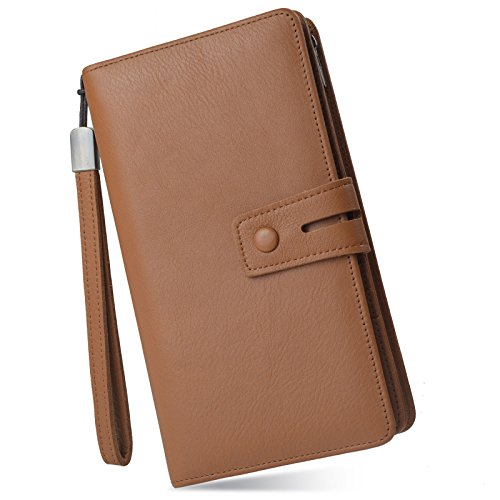 Women's Big Fat Rfid Leather Wristlet Wallet Organizer Large Phone Checkbook Holder with Zipper Pocket (Brown)