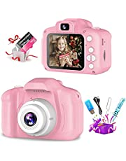 Qniceone Upgrade Kids Toy Digital Camera with [32 GB Memory Card and Card Reader ]Gifts for Child Girls Boys,Mini Rechargeable Children Shockproof Digital Camcorders Little Kid Toys Gift -pink