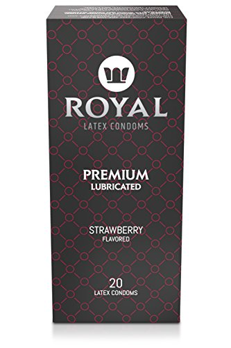 Royal Strawberry Flavored and Scented Condoms - Ultra Thin, All Natural, Organic, Vegan, Gluten Free Latex covered in Edible Water Based Lube for Long Lasting Extended Pleasure, Bulk 20 (Dry Non Lubricated Condoms)