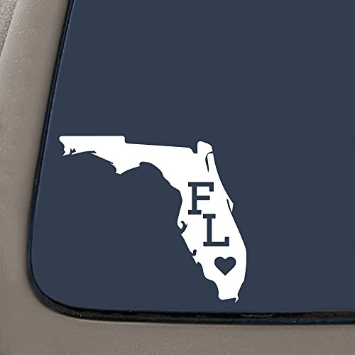 - DD984W Florida With State Abbreviation Decal Sticker   5.5-Inches By 4.9-Inches   Premium Quality White Vinyl