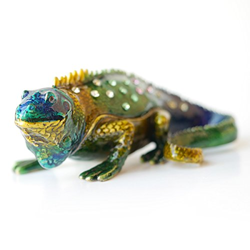 Pewter Box - Vintage style Hand Painted ChameleonTrinket Box (Blue Head)