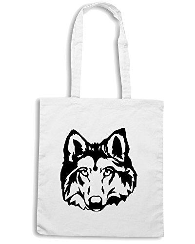 T-Shirtshock - Bolsa para la compra FUN0333 115d wolf head sticker 26165 Blanco