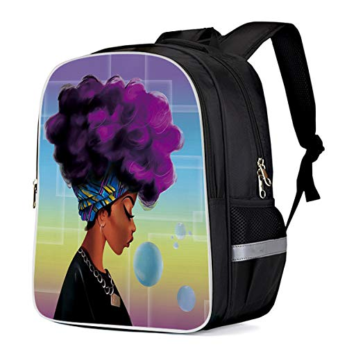 School Backpack for Girls,Traditional African Black Women With Purple Hair Afro Hairstyle School Bags Lightweight Teenager Students Bookbag - 13'11'6.3 (Hairstyles For African American Girls Ages 10 12)