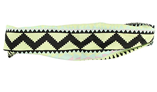 3TEN Aztec Tribal Multi-Colored Stretching Headbands Lime