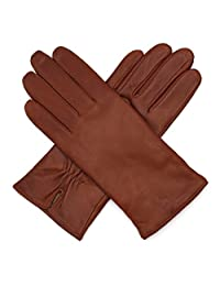 Harssidanzar Womens Luxury Italian Nappa Leather Gloves Vintage Finished Wool Lined, Brandy, M