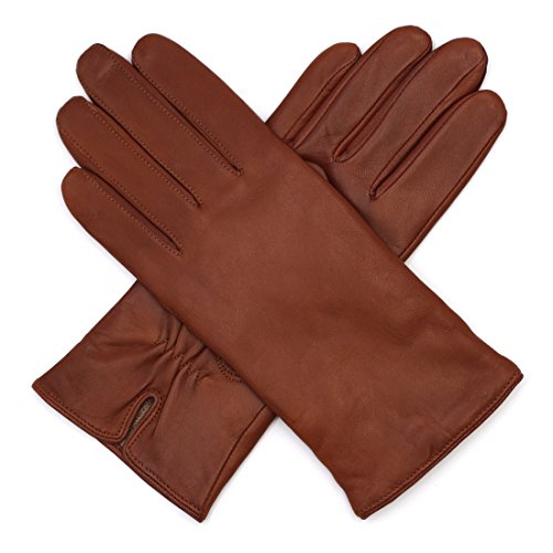 (Harssidanzar Womens Luxury Italian Leather Gloves Vintage Finished Cashmere Wool Lined)