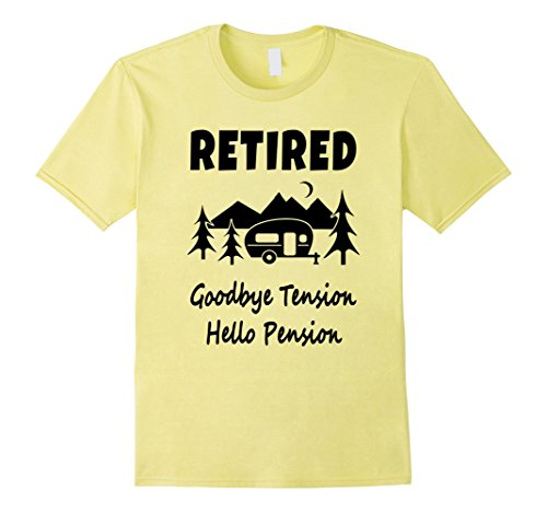 Mens Goodbye Tension Hello Pension Funny Retirement T-Shi...