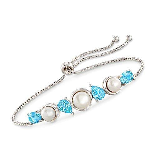Ross-Simons 6-7.5mm Cultured Pearl and 3.60 ct. t.w. Blue Topaz Bolo Bracelet in Sterling Silver