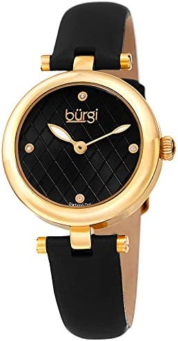 Burgi Women s BUR196 Diamond Accented Argyle Dial Watch – Comfortable Leather Strap – in a Gift Box