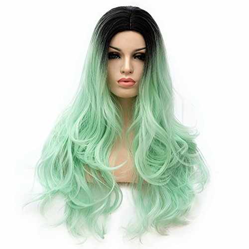 Mildiso Green Wigs Long Curly Hair Wigs for Women (black ombre light green) M015G
