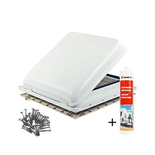 Fiamma Dachfenster Vent 40x40 cm Weiß + Dekalin Dichmittel + Schrauben für Wohnwagen oder Wohnmobil