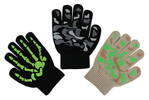 N'Ice Caps Boys Magic Stretch Gloves 3 Pair Pack Assortment (Neon Green Skeleton/Black Camo/Tan Camo, 6-12 Years)