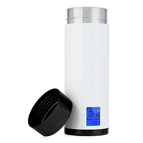 Vshow Smart Water Bottle with Reminder to Drink Water 8 time Hydration Bottle 320ml 12oz Wide Mouth Watertight BPA-Free Intelligent Cup with Timer and LED Screen Display