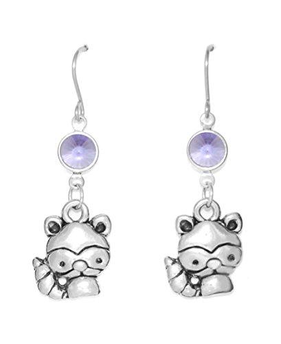 Clayvision Raccoon Bandit Charm Earrings with Tanzanite Colored Swarovski Crystals Purple (Purple Raccoon)