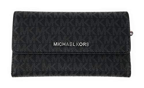 (Michael Kors Jet Set Travel Large Trifold Leather Wallet (Black PVC 2018))