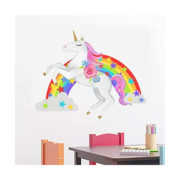 Bamsod Unicorn Wall Stickers Rainbow Kids Wall Decal Art Girls Bedroom Nursery Home Decor 11 inch x 13 inch 5