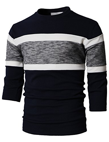 H2H Mens Casual T Shirts Color Block Top 3/4 Long Sleeve Waffle Pattern Navy US L/Asia XL (KMTTS0549) (Casual Cartoon Pattern)