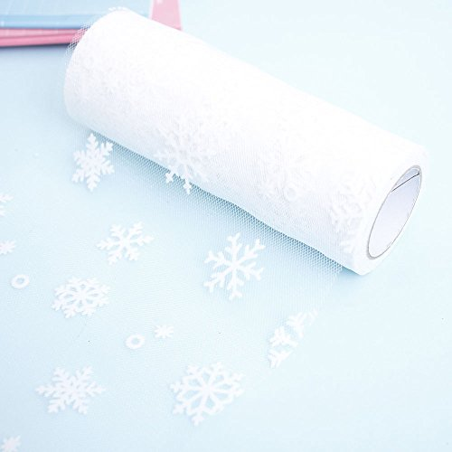 NUOMI Snowflake Tulle Rolls Organza Spool Christmas Gift Wrap Ribbons, Craft Hobby Fabric, DIY Chair Sashes, Sewing Trim Embellishments 10yards, White ()