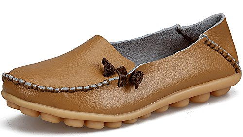 LabatoStyle Women's Casual Leather Loafers Driving Moccasins Flats Shoes (Khaki, 8 B(M) US) (Leather Womens Loafers)