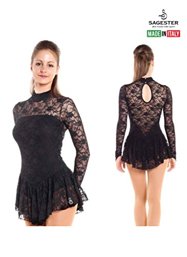 Sagester Style# 132/Hand-made in Italy/Long Sleeve Lace Dress for Figure Skating, Ice Skating, Roller Skating/Size: M/Color Black