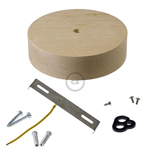 Wooden Ceiling Canopy kit for Textile Cable Complete with Accessories. Made in Italy.