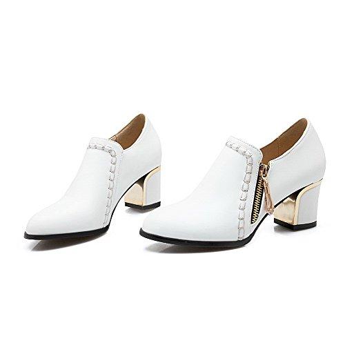 Amoonyfashion Mujeres Zipper Acentuado Cerrado Kitten-heels Pu Solid Pumps-Zapatos Blanco