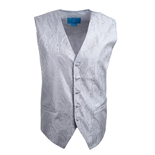 EGC1B03A-L Silver Patterned Various Style Waistcoat Woven Microfiber Thank You Gifts Large Vest By Epoint