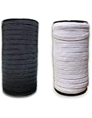 100 Yards Elastic Flat Band for Sewing Crafting and Mask Making White/Black Width 1/3 Inches (8 mm)