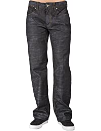 Men's Midrise Relaxed Bootcut Dark Black Premium Denim Jeans Wash Overspray
