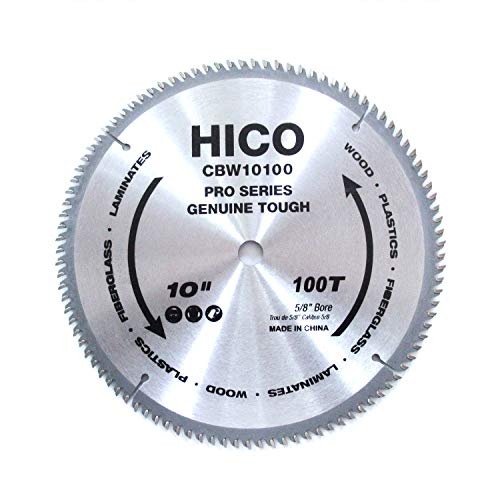 HICO 10-Inch 100-Tooth ATB Miter Saw Blade Thin Kerf General Purpose Saw Blade with 5/8-Inch Arbor for Softwood Hardwood Plywood