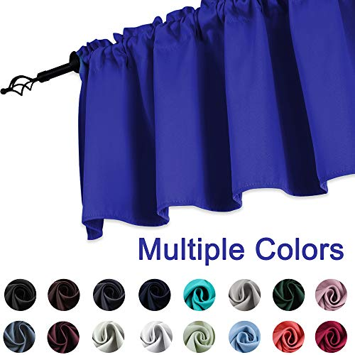 (KEQIAOSUOCAI Royal Blue Blackout Window Valance 52 by 18 inches Long Rod Pocket Valance Curtain for Kitchen/Bathroom, 1 Panel)