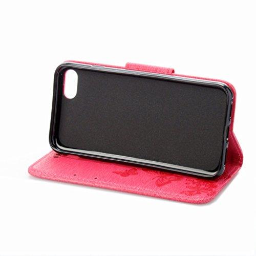 Custodia Apple iPhone 7 Cover Case, Ougger Fiore Farfalla Portafoglio PU Pelle Magnetico Stand Morbido Silicone Flip Bumper Protettivo Gomma Shell Borsa Custodie con Slot per Schede (Rosa)