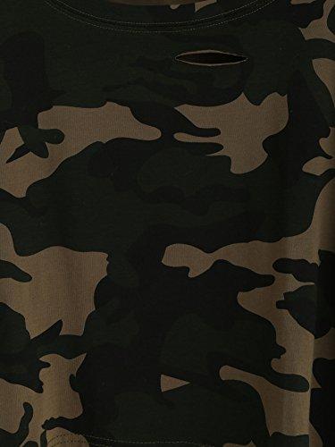d98952cd39a66 SweatyRocks Women s Tshirt Camo Print Distressed Crop T-shirt Summer Tops  Camo 1 S