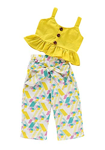 1-6T Baby Girl Pleated Wide Leg Palazzo Pants Outfits Halter Straps Off Shoulder Floral Vest Tops 2pcs Fall Outfit (Geometric, 6-12 Months) ()