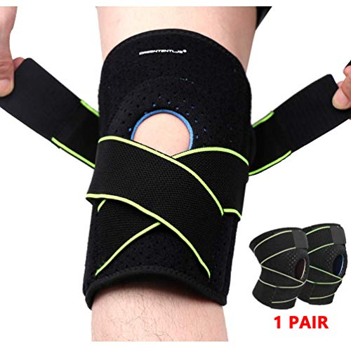 - Greententljs Pair of Knee Brace Holder with Side Stabilizers - Adjustable Strap Breathable Knee Brace Patella Gel Pads for Knee Support (2 PCS, Green)