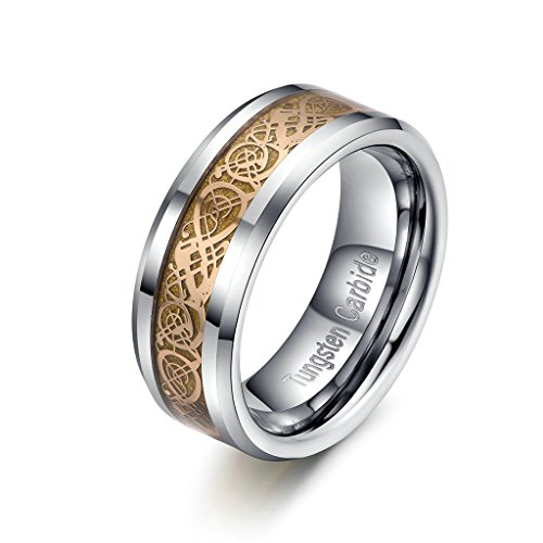 Gold Plated Celtic Dragon Comfort Fit Engagement Wedding Band