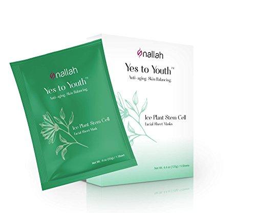 Nallah Yes to Youth Ice Plant Stem Cell Mask Facial Sheet Mask | Anti-Aging & Skin Balancing Gift Set | 5 Pack
