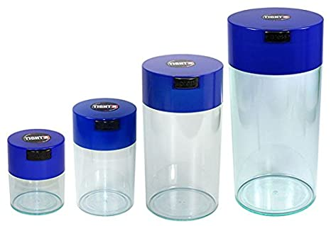 Tightpac America Nested Set of 4 Vacuum Sealed Dry Goods Storage Containers, 4 Sizes, 24-Ounce, 12-Ounce, 6-Ounce, 3-Ounce, Solid Black Body/Dark Blue Cap Tightpac America Inc SET4-SDB