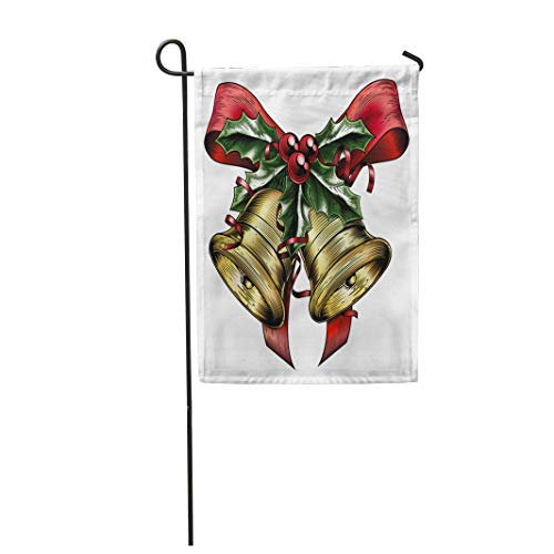 Tarolo Decoration Flag Vintage Christmas Gold Bells Holly Sprig and Berries Red Bow Ribbons in Woodblock Woodcut Etching Lithograph Thick Fabric Double Sided Home Garden Flag 12