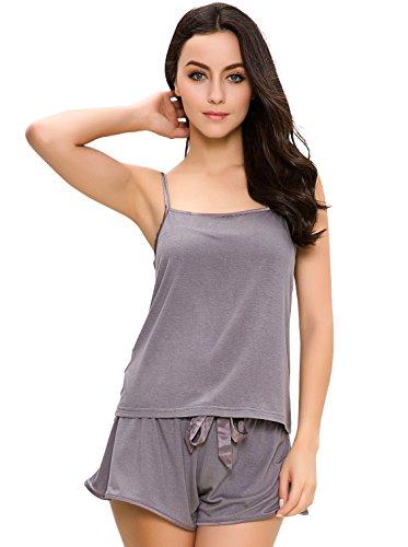 GYS Women's Lingerie Pajama Set Adjustable Strap Blouse with Pj Shorts