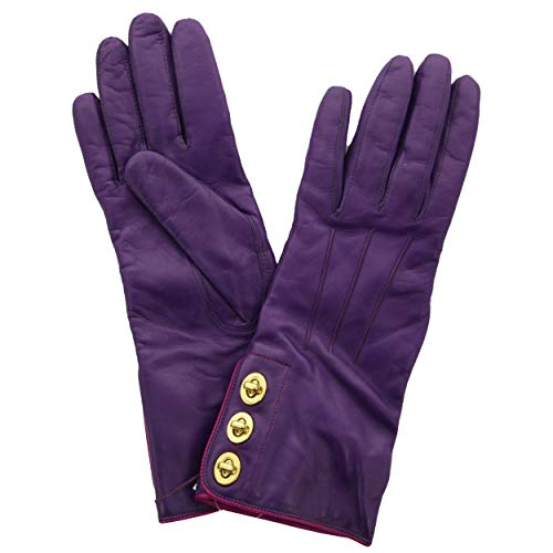 - Coach 82825 Women's 3 Turnlock Leather Lined Gloves Iris Purple 8