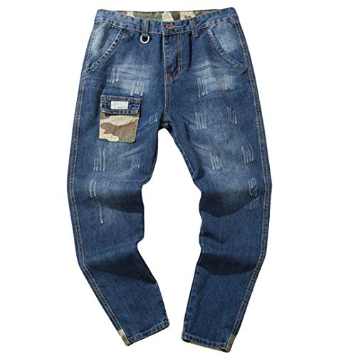 Hombre Jeans Pantalones,Sonnena Vaqueros Ocasionales de algodón de la Vendimia del otoño Denim Cotton Wash Pantalones de Trabajo Jeans Pantalones Larga J
