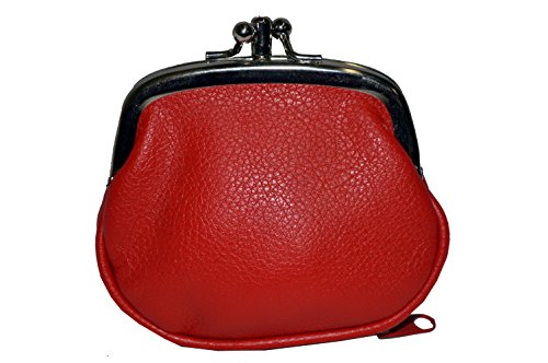 Leatherboss Coin Purse Double Frame with Zipper Pocket - Red S 3