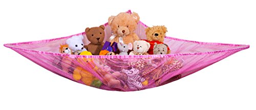 Jumbo Toy Hammock - Organize stuffed animals or children's toys with the mesh hammock. Looks great with any décor while neatly organizing kid's toys and stuffed animals. Expands to 5.5 feet - Pink