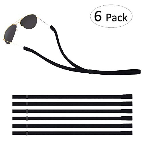 Lelife Adjustable Eyewear Retainer, Universal Fit Rope Eyewear Retainer, Sport Unisex Sunglass Retainer Straps, Set of 6 (Black)