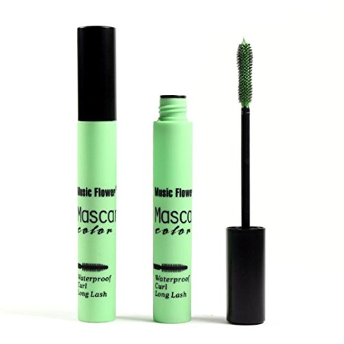 DATEWORK Colorful Waterproof Makeup Eyelash Long Curling Mascara Eye Lashes Extension (Green) (Green Eyelashes)